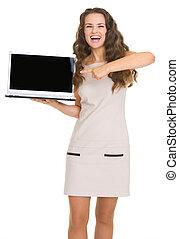 kobieta spoinowanie, laptop, młody, czysty, portret, uśmiechanie się, ekran