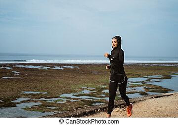 kobieta, sport, szalik, wyścigi, głowa