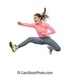 kobieta, sporty, poza, młody, bojowy, skokowy, szczęśliwy