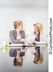 kobieta, spotkanie, handlowy