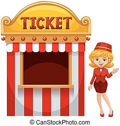 kobieta, sprzedajcie, biletowy stragan