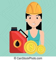 kobieta, stacja, benzyna