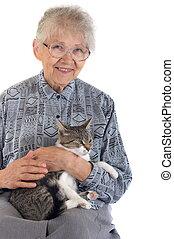 kobieta, starszy, kot