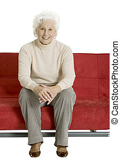 kobieta, starszy, leżanka