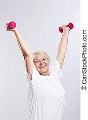 kobieta, starszy, lekkoatletyka