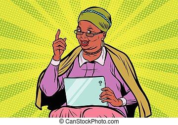 kobieta, starszy, tabliczka, afrykanin