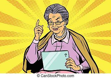 kobieta, starszy, tabliczka, kaukaski