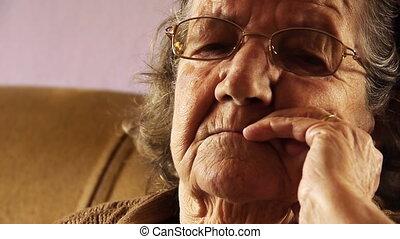 kobieta, stary, do góry, twarz, 2, skóra, zamknięcie, senior...