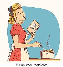 kobieta, stary, jej, room., gotowanie, młody, zupa, retro, modny, strój, czerwony, kuchnia