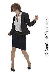 kobieta, strój, młody, handlowy, taniec