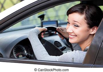 kobieta, strzał, ładny, szczęśliwie, kierowca, closeup, śmiech, wóz