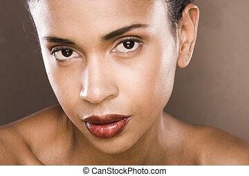kobieta, strzał, młody, włosy, studio, portret, czarnoskóry