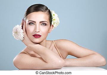 kobieta, strzał, piękno, przybory, uśmiechanie się, kwiaty