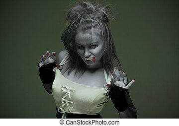 kobieta, strzyga, z, kły, na, niejaki, ciemne tło