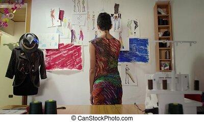 kobieta, studio, młody, pracujący