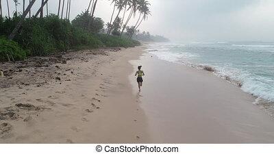 kobieta, styl życia, zdrowy, młody, rano, tropikalny, wyścigi, podczas, plaża, wschód słońca