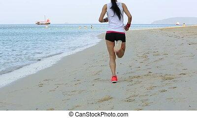 kobieta, styl życia, zdrowy, młody, wyścigi, plaża, wschód słońca