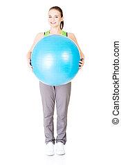 kobieta, styl życia, zdrowy, pilates, ruch, ball.