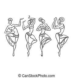 kobieta, style., taniec, etniczny
