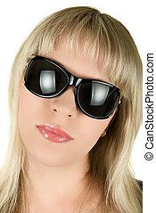 kobieta, sunglasses, blond