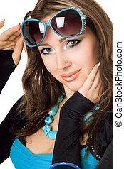 kobieta, sunglasses, młody, closeup, pociągający, portret