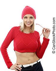 kobieta, sweter, krótki, fason, blondynka, czerwony