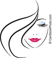 kobieta, sylwetka, ładny, twarz