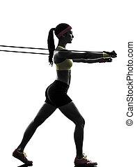 kobieta, sylwetka, bandy, trening, opór, wykonując,...
