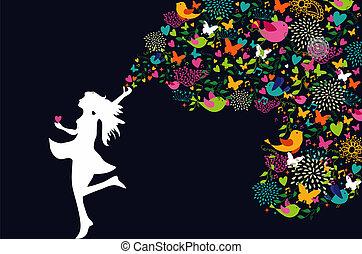 kobieta, sylwetka, barwny, karta, szczęśliwy