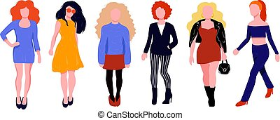 kobieta, sylwetka, barwny, set., litera, komplet, strój