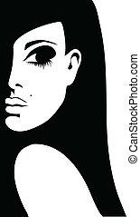 kobieta, sylwetka, ilustracja, tło, wektor, biały