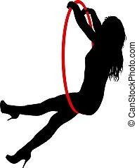 kobieta, sylwetka, obręcz, jakiś, elementy, tło, antena, biały, akrobatyczny