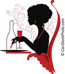 kobieta, sylwetka, odprężając, restauracja