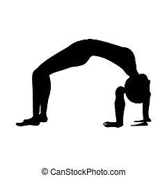 kobieta, sylwetka, poza, łuk, yoga, zwyżkowy