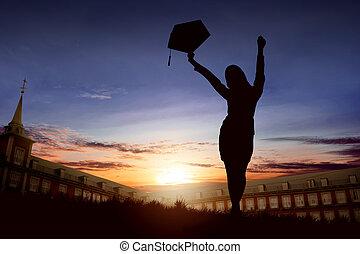kobieta, sylwetka, skala, świętując, kapelusz, podniecony