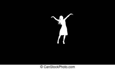 kobieta, sylwetka, taniec.