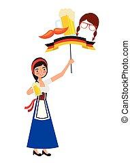 kobieta, symbol, piwo, bandera, bawarka, wąsy