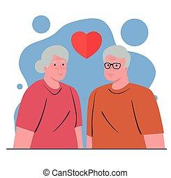 kobieta, szczęśliwa para, serce, babcia, starszy, granddaddy...