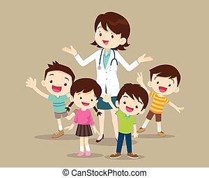 kobieta, szczęśliwy, dzieciaki, doktor