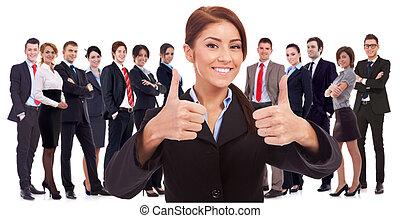 kobieta, szczęśliwy, o, wyniki, bardzo, lider