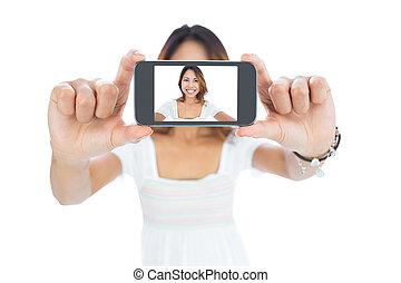 kobieta, szczęśliwy, selfie, wpływy, asian