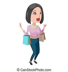 kobieta, szczęśliwy, zakupy, rysunek, ilustracja, wektor