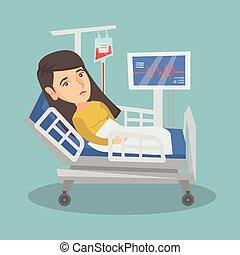 kobieta, szpital, młody, bed., kaukaski, leżący