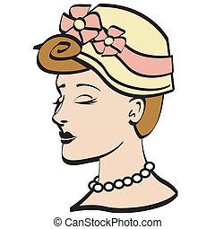 kobieta, sztuka, 1950s, zacisk, czapeczka, wielkanoc