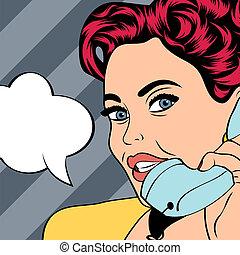 kobieta, sztuka, gaworząc, ilustracja, hukiem, telefon