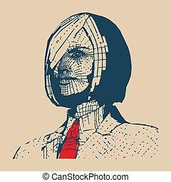 kobieta, sztuka, handlowy, hukiem, wektor, ilustracja, style.