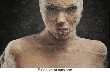 kobieta, sztuka, młody, bandaż, portret, delikatny