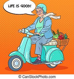 kobieta, sztuka, vegetables., hulajnoga, biker., hukiem, wektor, ilustracja, kosz, jeżdżenie, senior, dama, szczęśliwy