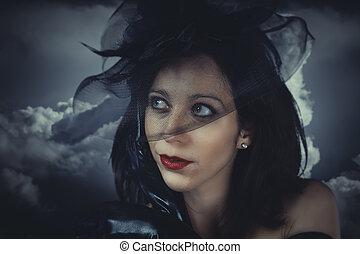 kobieta, tło, młody, czarnoskóry, burza, portret, sexy, welon