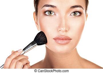 kobieta, tło, makijaż, młody, odizolowany, ładny, szczotka, biały